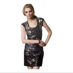 Silver Ombre Sequin Cocktail Dress